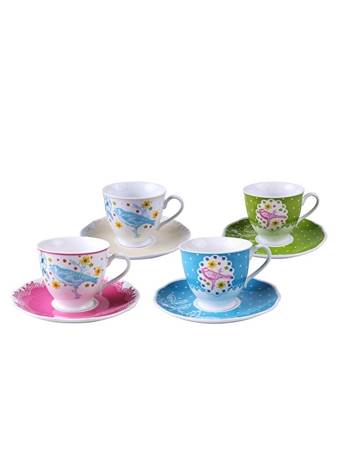 Dekorazon Tea Room 4'lü Fincan Seti Renkli